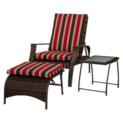 Threshold Rolston 3-Piece Wicker Patio Chaise Lounge Set - Red Stripe