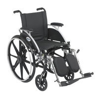 Drive Medical Viper Wheelchair with Various Flip Back Desk Arm Styles and Front Rigging Options, Black, 16