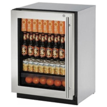 U-Line Stainless Steel 2000 Series 24 Glass Door Beverage Center