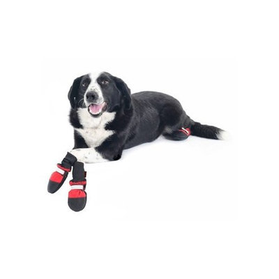 Muttluks Fleece Lined 3.75-Inch to 4.25-Inch Dog Boots, Large, Red, Set of 4