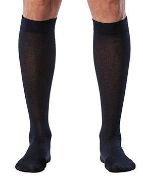 Sigvaris Sea Island Cotton 222CLLM10 20-30mmHg Mens Closed Toe Calf Socks - Navy Long Large