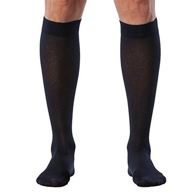 Sigvaris Sea Island Cotton 222CLLM10 20-30mmHg Mens Closed Toe Calf Socks - Navy Long Large