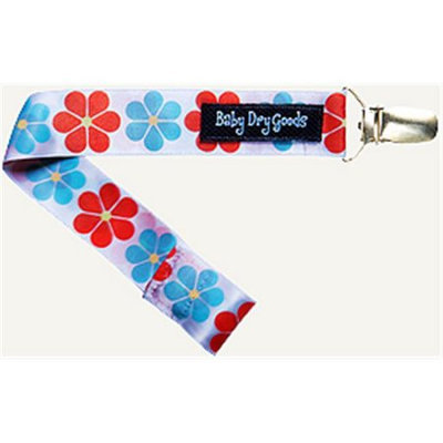 Baby Dry Goods 03023 RedBlueYellow Flower Pacifier Clip