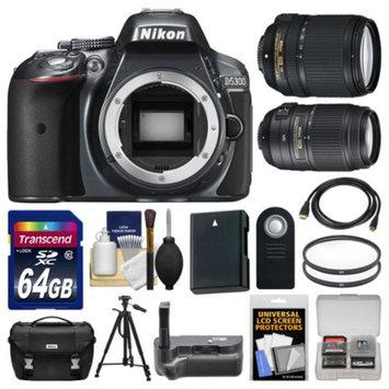 Nikon D5300 Digital SLR Camera Body (Grey) with 18-140mm & 55-300mm VR Zoom Lens + 64GB Card + Case + Grip + Battery + Tripod Kit