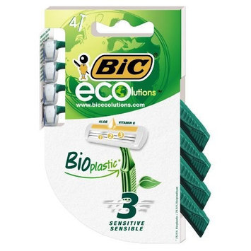 B.I.C. BIC ECOlutions Disposable Triple Blade Shaver, Men and Women, 4-count Packages