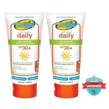 Trukid 2-piece Set Sunny Days SPF 30+ Natural Sunscreen: 3.5 Oz Tubes (No Vit. A)