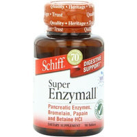 Schiff Super Enzymall with Pancreatic Enzymes, Bromelain, Papain and Betaine HCI, Dietary Supplement, 90 Count