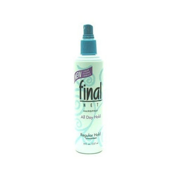 Final Net Pump Hairspray 8 oz. Regular Unscented (3-Pack) with Free Nail File