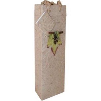 Bella Vita BVBB1GLNATURAL Handmade Paper Single Wine Bag Natural
