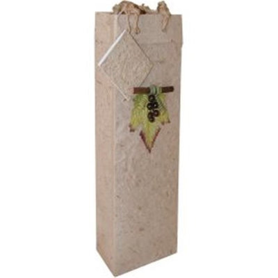 Bella Vita BVBB1GLNATURAL Handmade Paper Single Wine Bag Natural