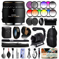47th Street Photo Sigma 50mm F2.8 EX DG Macro Lens for Sony (346205) + 12 Piece Filter Set + 10x Macro Diopter + Stabilizer Handle + Sling Backpack + 67 Monopod + Deluxe Cleaning Kit + Air Dust Blower + $50 Prints Gift Card + More