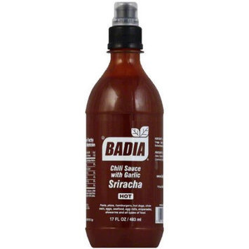 Badia Hot Sriracha Chili Sauce with Garlic, 17 fl oz, (Pack of 6)