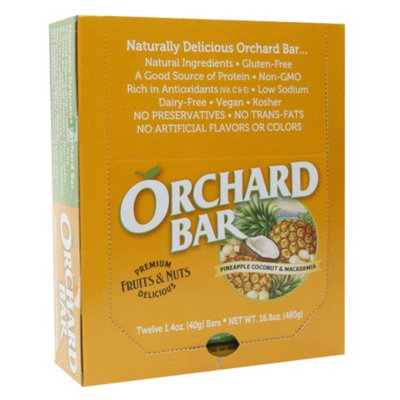 Orchard Bars Fruits & Nuts 12/1.4oz, Pineapple, Coconut & Macadamia Bar, 16.8 oz