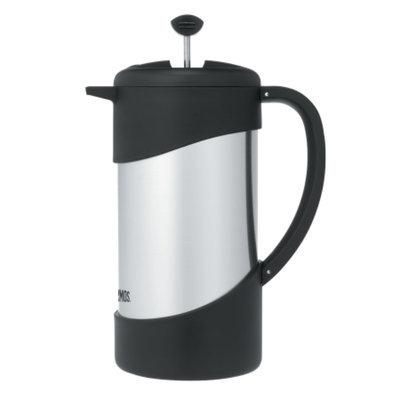 Thermos Gourmet Coffee Press, Stainless Steel / Black, 1 ea