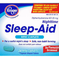 Kroger Nighttime Sleep-Aid, Diphenhydramine HCl 25 mg, 24 caplets, Compare to active ingredient of Tylenol Simply Sleep Nighttime Sleep Aid Mini-Caplets