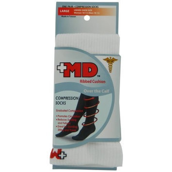 MD USA Ribbed Cotton Compression Socks with Cushion, White, Medium, (Pack of 2)