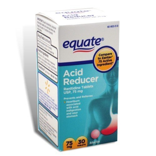 Equate - Acid Reducer, Non-Prescription Strength, Ranitidine 75 mg, 30 Tablets, Compare to Zantac 75