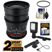 Rokinon 35mm T/1.5 Cine Wide Angle Lens with 2 Year Ext. Warranty + Filter + LED Video Light + Microphone Kit for Nikon D3200, D3300, D5200, D5300, D7100, D610, D800, D4s Cameras
