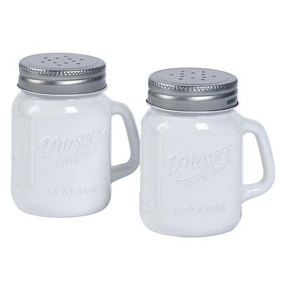 Mason White Salt/Pepper Mason Jar - TABLETOPS UNLIMITED, INC.