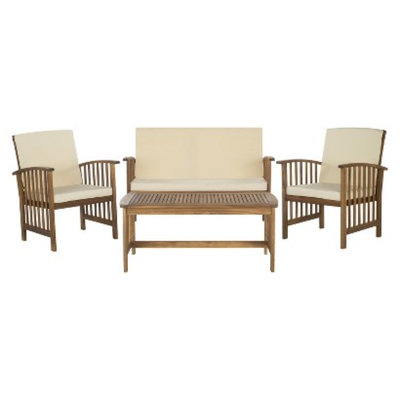 Safavieh Santorini 4-Piece Wood Patio Conversation Set - Brown