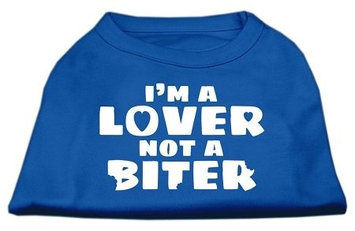 Ahi I'm a Lover not a Biter Screen Printed Dog Shirt Blue Lg (14)