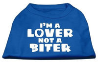 Ahi I'm a Lover not a Biter Screen Printed Dog Shirt Blue XXXL (20)