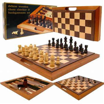 Trademark Games Deluxe Wooden Chess, Checker & Backgammon Set