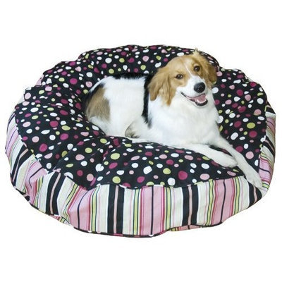 Happy Hounds Scout Deluxe Round Dog Bed, Extra Small 24-Inch, Black/Pink