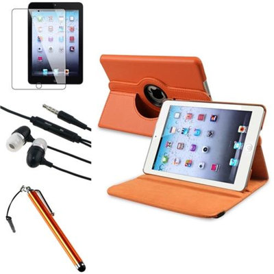 Insten iPad Mini 3/2/1 Case, by INSTEN 4 Item Orange 360 Swivel Leather Case Clip 3.5mm Yellow Stylus for iPad Mini 1/2/3