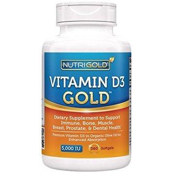 Nutrigold Vitamin D3 5000 IU, 360 Mini Softgels