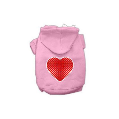 Mirage Pet Products Red Swiss Dot Heart Screen Print Pet Hoodies Light Pink Size XXL (18)