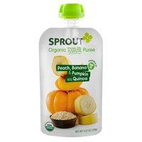 Sprout Toddler Pouch, Peach, Banana & Pumpkin with Quinoa, 4.22 oz