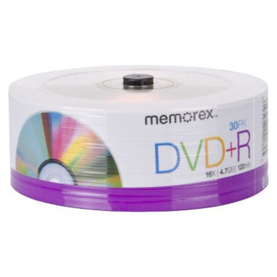 Memorex 4.7 GB DVD+R Discs 30 Pack Recordable Media - Silver