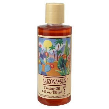 Arizona Sun Tanning Oil SPF 3 - 6 oz - Natural Products With Aloe Vera and Plants and Cacti From the Desert - Moisturizing Mineral Oil - Deep Dark Tan