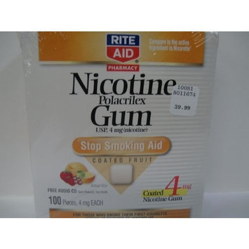 Rite Aid Stop Smoking Aid, 4 mg, Gum, Coated Fruit, 100 ea