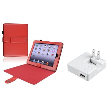 Insten INSTEN Red Leather Cover Case+Travel Charger For iPad 1 32GB