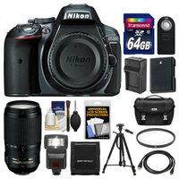 Nikon D5300 Digital SLR Camera Body (Grey) with 70-300mm VR Zoom Lens + 64GB Card + Case + Flash + Battery & Charger + Tripod Kit
