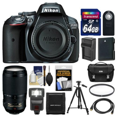 Nikon D5300 Digital SLR Camera Body (Grey) with 70-300mm VR Zoom Lens + 64GB Card + Case + Flash + Battery & Charger + Tripod Kit