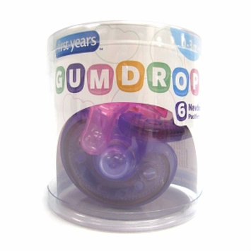 The First Years GumDrop Pacifier, 6 Pack, Pink/Purple, 1 ea