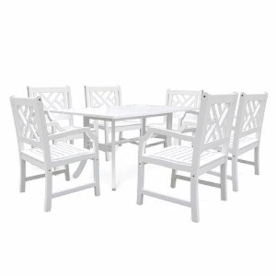VIFAH Curvy-Legged Six-Seater Outdoor Dining Set, Acacia, White, 1 ea