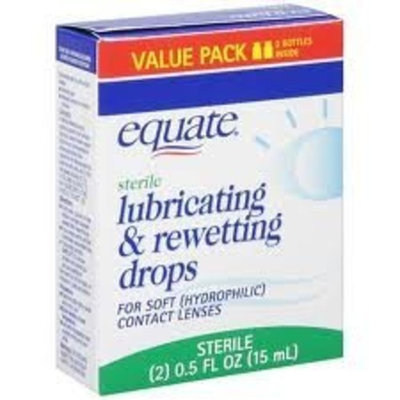 Equate: Sterile Lubricating & Rewetting Drops for Soft (Hydrophilic) Contact Lens, 0.50 Fl Oz(2 pack)
