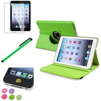 Insten iPad Mini 3/2/1 Case, by INSTEN Green 360 Degree Rotating Leather Case Cover Stand for Apple iPad Mini 3 2 1+Sticker