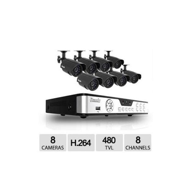 Zmodo 8CH 8CAM DVR Security System - H.264, 480TVL, Weatherproof Cameras, Motion Detection, Remote View via 3G Mobile Ph