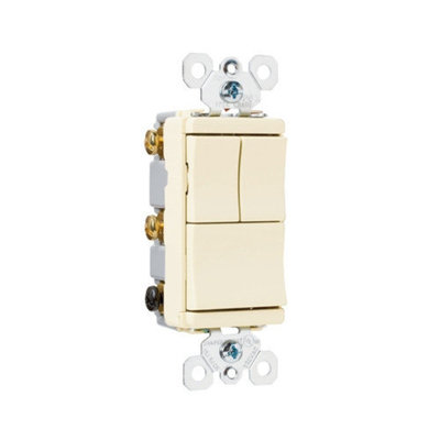 Legrand TradeMaster 15A 120V Decorator Three Single Pole Switches in Light Almond
