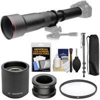 Vivitar 650-1300mm f/8-16 Telephoto Lens with 2x Teleconverter (=2600mm) + Monopod + Filter Kit for Sony Alpha E-Mount Cameras
