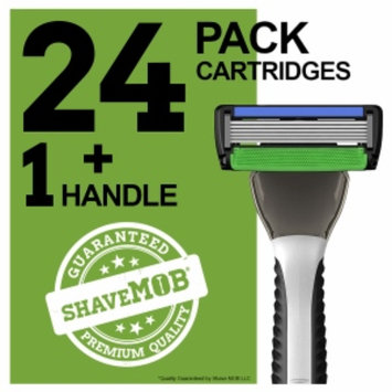 Shavemob ShaveMob Men's 6 Blade + Trimmer Shaving Razor Kit - 24 Cartridges & 1 Handle, 1 set