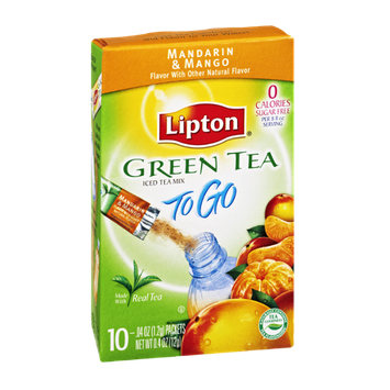 Lipton To Go Green Tea Mandarin & Mango Sugar Free Iced Tea Mix- 10 CT