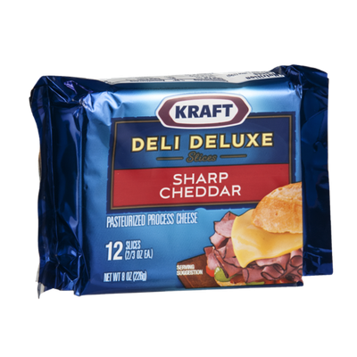 Kraft Deli Deluxe Slices Cheese Sharp Cheddar - 12 CT