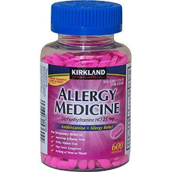 Benadryl Diphenhydramine HCI 25 Mg - Kirkland Brand - Allergy Medicine and AntihistamineCompare to Active Ingredient of Benadryl® Allergy - 600 Count