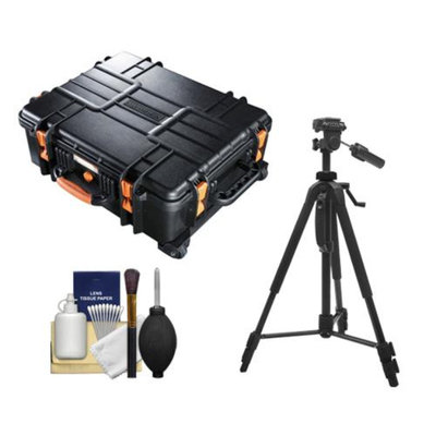 Vanguard Supreme 53F Waterproof and Airtight Hard Case with Foam & Wheels with Tripod + Cleaning Kit